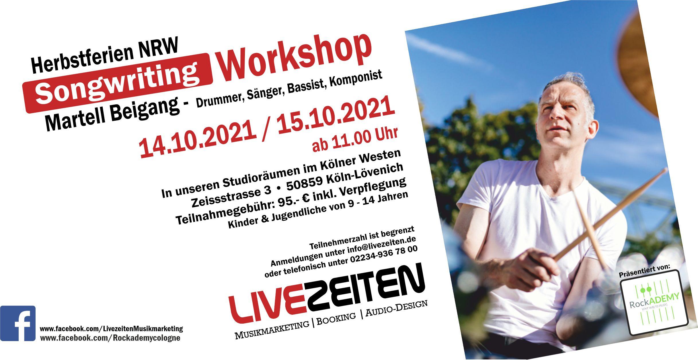 Songwriting Workshop mit Martell Beigang in den NRW Herbstferien